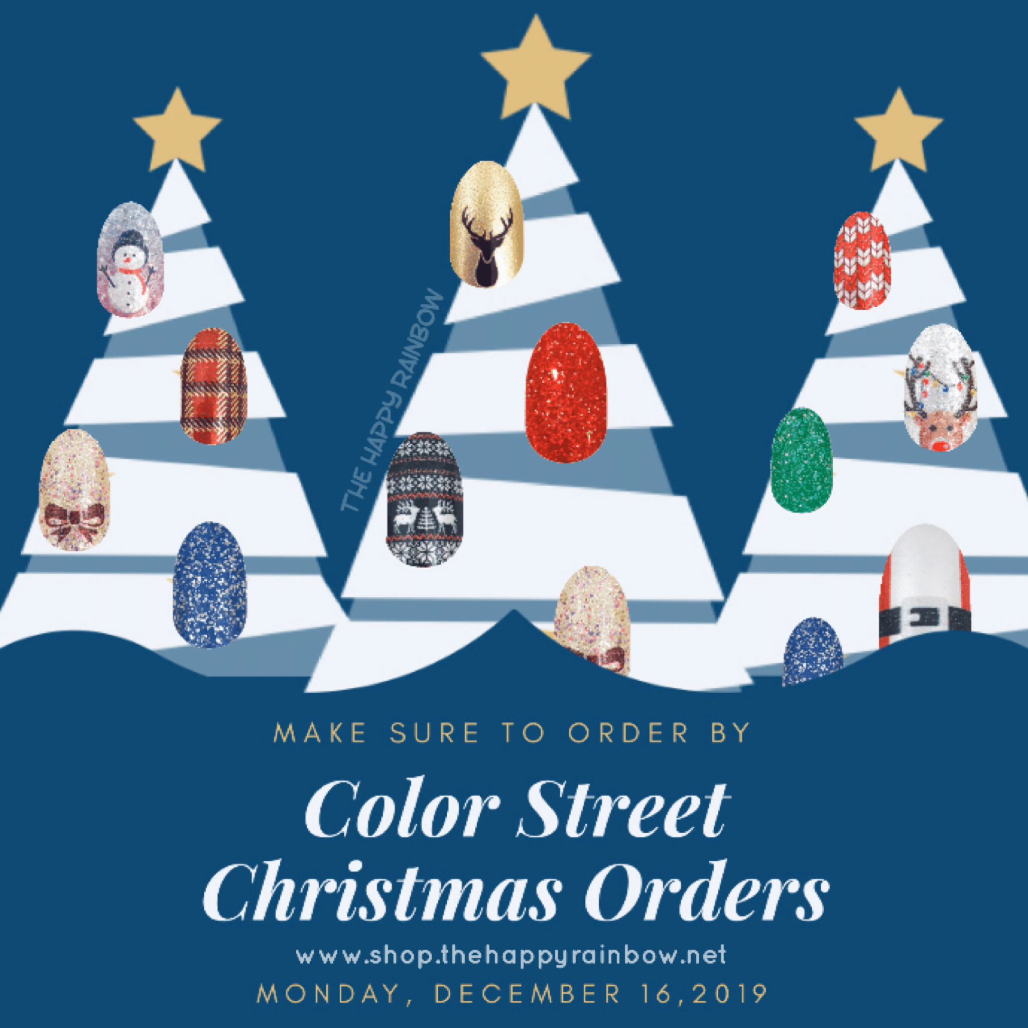 Photo noting when Color Street Christmas shipping dates are guaranteed