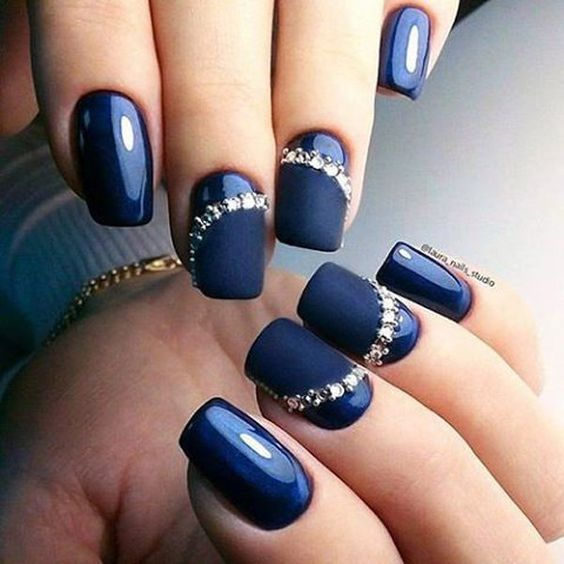 Photo of Glossy and Matte blue nails with gems for New Years nail art designs 2020