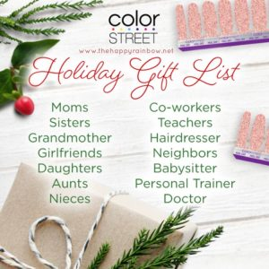 Photo of a list of people who would love Color Street as a gift.