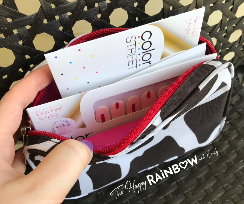 Color Street organization example with a small cosmetic bag
