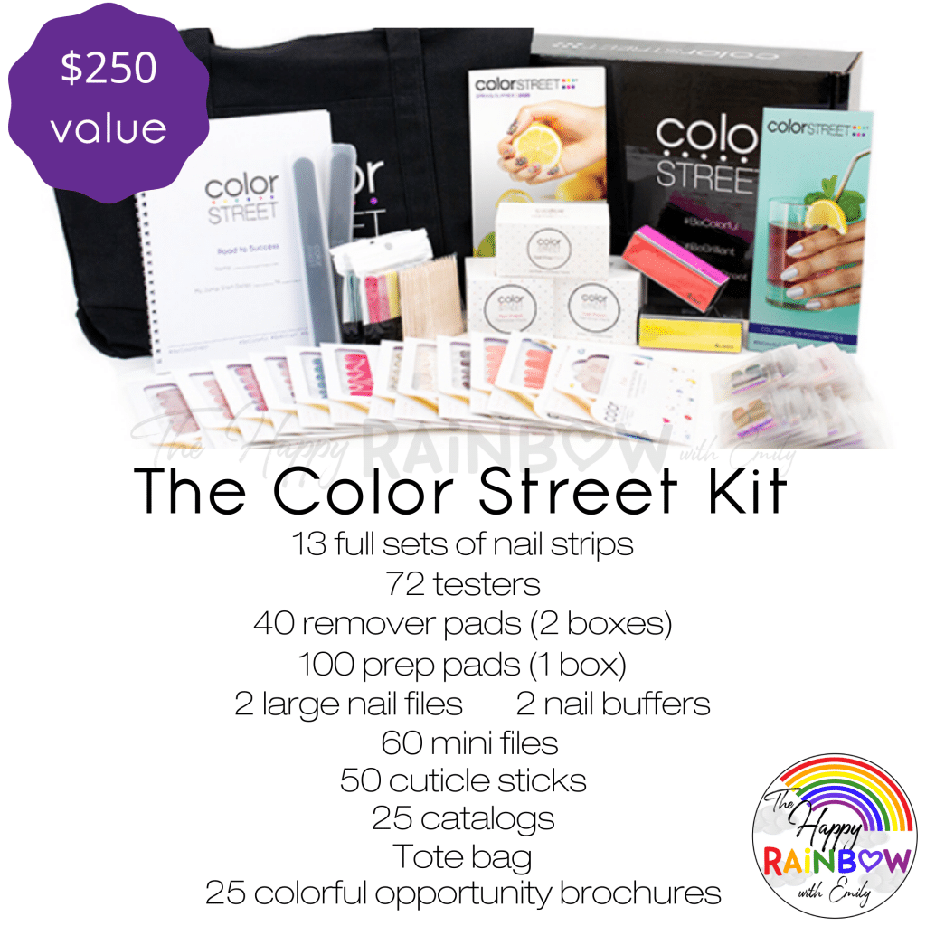Image list of what you get when joining Color Street