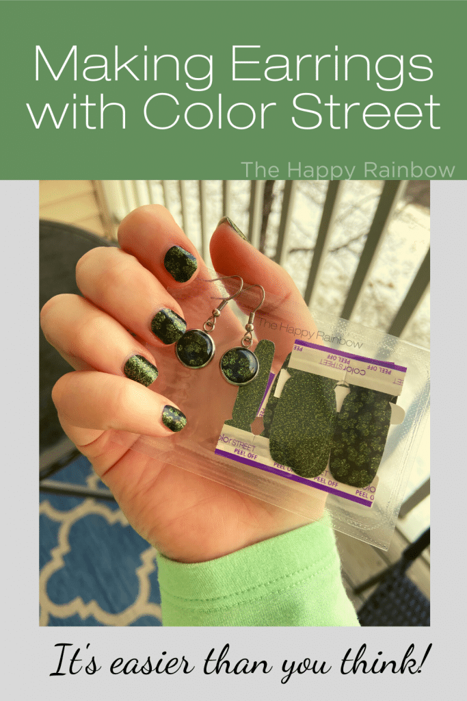 Making earrings with Color Street example photo showing same nail art on nails, earrings, and in package