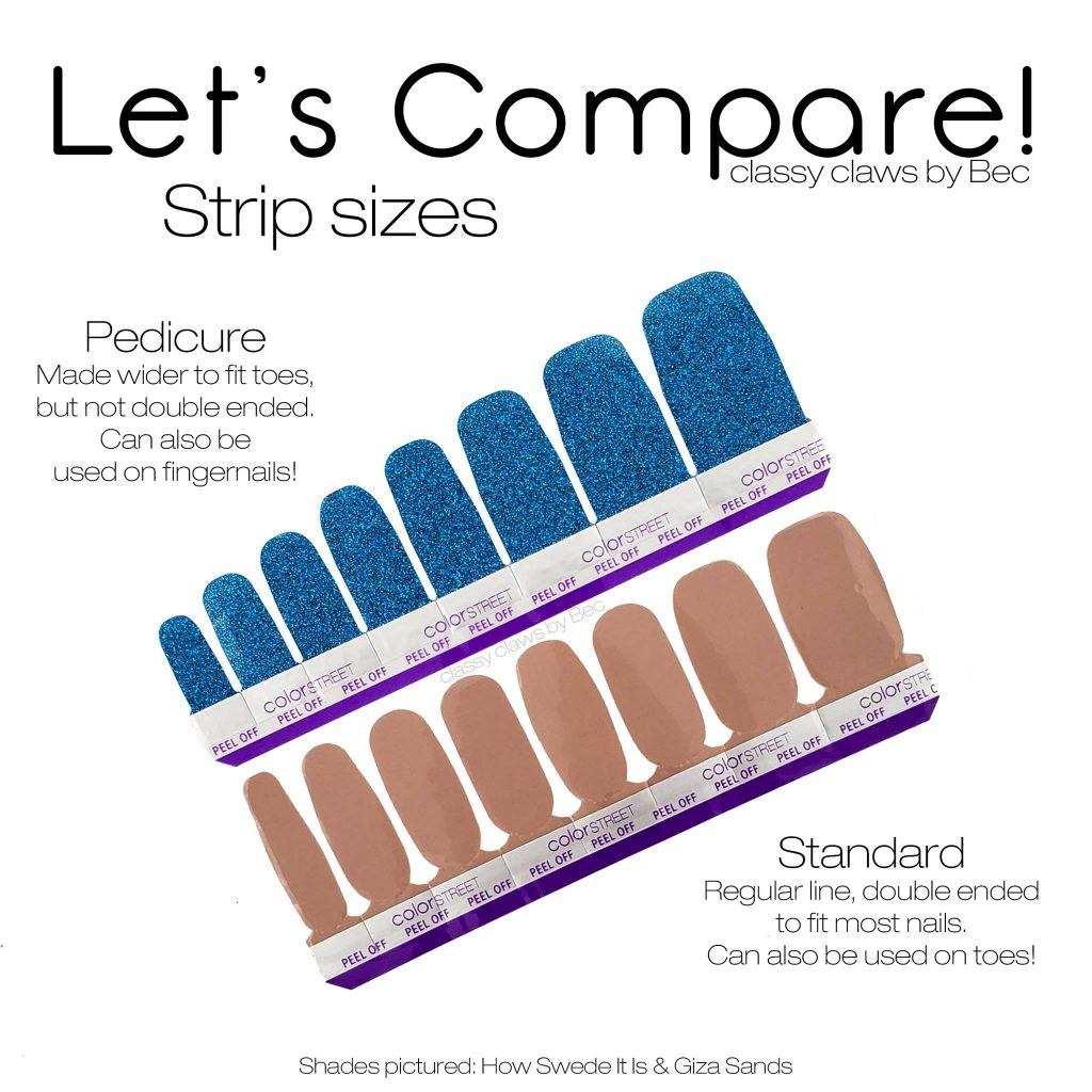 Color Street pedicure tips showing size difference between pedicure strips and manicure strips