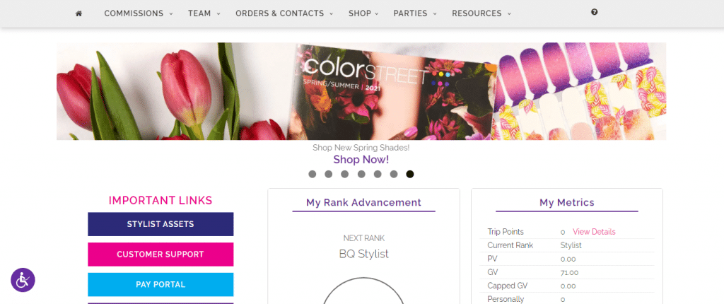 screenshot of virtual office when joining Color Street