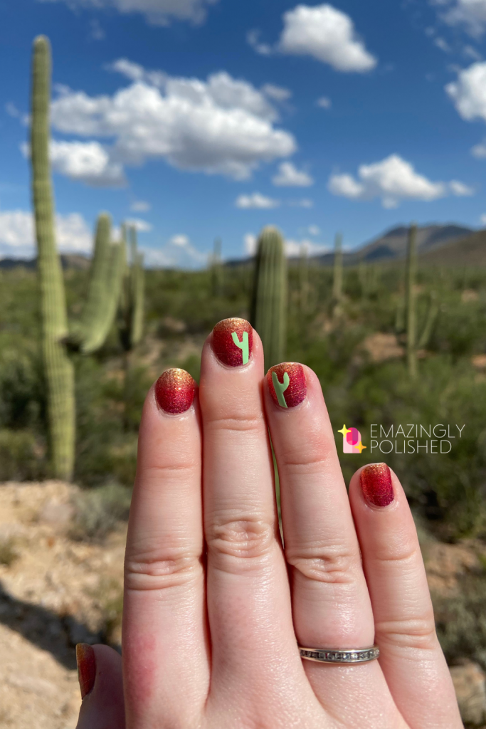 Color Street cactus nails with Saguaro national park in the background